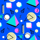 Memphis style background. Memphis seamless pattern of geometric shapes. Abstract 1980-90 styles design. Trendy memphis style. Colorful geometric hipster poster vector illustration