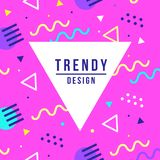 Memphis style banner template. 80-90s trendy fashion background with geometric shapes. Vector illustration. Poster, invitation, greeting card, cover design Royalty Free Illustration