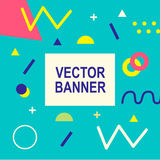 Memphis style banner template. 80-90s trendy fashion background with geometric shapes. Vector illustration. Poster, invitation, greeting card, cover design Vector Illustration