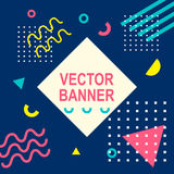 Memphis style banner template. 80-90s trendy fashion background with geometric shapes Stock Photography