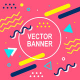 Memphis style banner template. 80-90s trendy fashion background with geometric shapes. Vector illustration. Poster, invitation, greeting card, cover design Royalty Free Stock Image