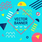 Memphis style banner template. 80-90s trendy fashion background Stock Photos