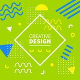Memphis style banner template. 80-90s trendy fashion background. With geometric shapes. Vector illustration. Poster, invitation, greeting card, cover design Stock Image