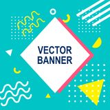 Memphis style banner template. 80-90s trendy fashion background. With geometric shapes. Vector illustration. Poster, invitation, greeting card, cover design Royalty Free Illustration