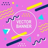 Memphis style banner template. 80-90s trendy fashion background. With geometric shapes. Vector illustration. Poster, invitation, greeting card, cover design Stock Photos