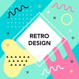 Memphis style banner template. 80-90s trendy fashion background. With geometric shapes. Vector illustration. Poster, invitation, greeting card, cover design stock illustration