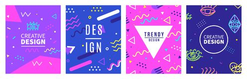 Memphis style banner templates collection. 80-90s trendy fashion background. With geometric shapes. Vector illustration. Poster, invitation, greeting card Royalty Free Stock Images
