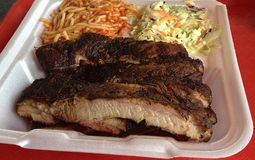 BBQ Ribs and Spaghetti Plate, Memphis Style Stock Photos