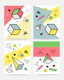Memphis style cards Design Collection of Colorful templates with geometric shapes, patterns with trendy Memphis fashion. 80s-90s. Perfect for ad, invitation royalty free illustration