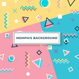 Memphis style cover with geometric shapes. templates in trendy fashion 80-90s. Memphis style cover with geometric shapes and patterns. Collection of templates in royalty free illustration