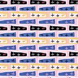 Memphis Style Crosses Abstract Seamless vektormodell, dragen klotterkonst vektor illustrationer