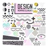 Memphis Style Design Elements Set abstrait Collection géométrique de formes pour des modèles, milieux, brochure, affiche, insecte Illustration Libre de Droits