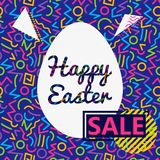 Memphis style Easter geometric pattern, illustration with line elements and geometric figures. Design backgrounds for invit royalty free illustration