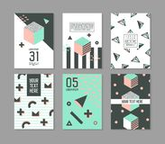 Memphis Style Geometric Elements Poster Templates Set. Abstract Hipster Fashion 80s 90s Cards Brochure Banners with Place for Text. Vector illustration Stock Images