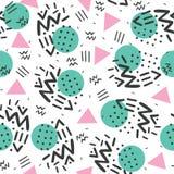 Memphis style, geometric pattern, abstract seamless pattern, retro 80s style. stock illustration