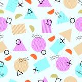 Memphis style geometric seamless pattern. Vector. Modern Stock Illustration