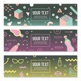 Memphis Style Horizontal Banners abstrait avec géométrique illustration stock