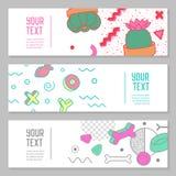 Memphis Style Horizontal Banners astratto con gli elementi geometrici Composizione moderna nei pantaloni a vita bassa creativi pe royalty illustrazione gratis