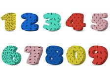 Memphis style numbers, vector digit set. Colorful vector figures, stock illustration