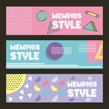 Memphis style pattern banner horizontal geometric color pastel image. Vector illustration royalty free illustration