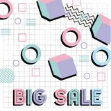 Memphis style pattern big sale promotion poster. Vector illustration Stock Photos