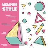 Memphis style pattern 3d figures geometric traingle circle square. Vector illustration vector illustration