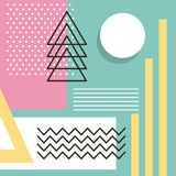Memphis style pattern repeating geometric shape pastel color. Vector illustration Royalty Free Stock Image
