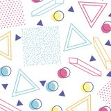Memphis style pattern repeating geometric shape pastel color. Vector illustration Stock Photography