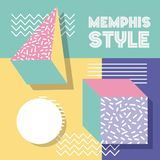 Memphis style pattern retro 3d shapes geometric. Vector illustration Royalty Free Stock Images