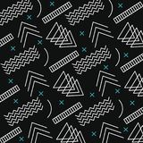 Memphis style pattern retro dark background. Vector illustration Royalty Free Stock Photo