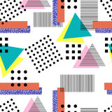 Memphis style pattern 10. Memphis  style. Seamless geometric vintage seamless pattern in Retro 80s or 90s. Can be used in the textile fabric, paper print, web Stock Photos