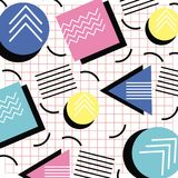 Memphis style pattern triangle circle and square grid design. Vector illustration Royalty Free Stock Photography
