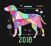 Memphis Style Placard abstracto con el perro para el diseño del Año Nuevo 2018 Fondo de moda de las formas geométricas Fotos de archivo libres de regalías