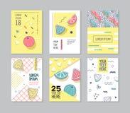 Memphis Style Posters Set abstracto Tarjetas geométricas de las formas Foto de archivo libre de regalías