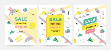 Memphis style sale cards Design Collection of Colorful templates with geometric shapes, patterns with trendy Memphis. Fashion 80s-90s. Perfect for ad royalty free illustration