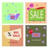 Memphis style sale flyers with geometric shapes and patterns. Memphis style sale cards with geometric shapes and patterns. Collection of templates in trendy vector illustration