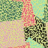Memphis style seamless geometric pattern. With shapes and letters. Vector illustration Stock Illustration