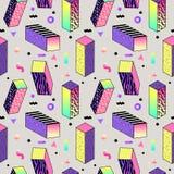Memphis Style Seamless Pattern abstrato com formas geométricas e cubos ilustração do vetor