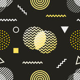 Memphis style seamless pattern. Black white yellow background 80s, 90s retro fashion design. Abstract doodle. Illustration with circles dots zigzag vector illustration
