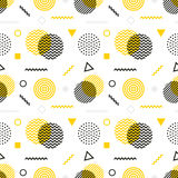 Memphis style seamless pattern. Black white yellow background 80s, 90s retro fashion design. Abstract doodle. Illustration with circles dots zigzag royalty free illustration