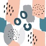 Memphis Style Seamless Pattern Color färgstänk royaltyfri illustrationer
