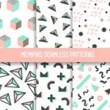 Memphis Style Seamless Pattern Set abstrait Milieux de hippie avec les éléments géométriques Illustration Stock