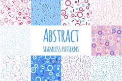 Memphis style seamless pattern set. vector modern illustration Royalty Free Stock Photos