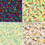 Memphis style set of seamless geometric pattern. With shapes and letters. Vector illustration Royalty Free Illustration