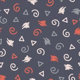 Memphis style shapes seamless vector background. Modern abstract pattern. Twirls, triangle, scribble blue, red, white for fabric, vector illustration