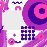 Memphis style square template with geometric pattern in pink and purple colors, vector stock image
