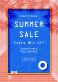 Memphis style summer sale banner. Royalty Free Stock Photo