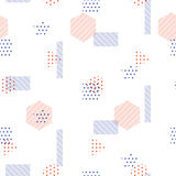 Memphis style vector seamless pattern with geometric shapes. Royalty Free Stock Photos