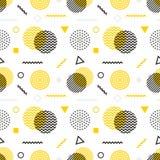 Memphis stylowy bezszwowy wzór Czarny biały żółty tło 80s, 90s mody retro projekt abstrakcjonistyczny doodle Fotografia Royalty Free