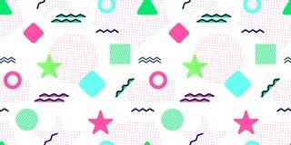 Memphis stylu Wektorowy Bezszwowy wzór Abstrakcjonistyczny tło z modnymi geometrycznymi elementami Kolorowi grafika kształty Nowo royalty ilustracja